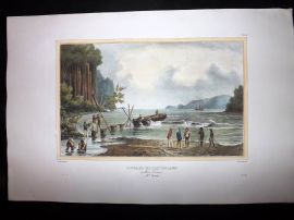 d'Urville 1835 Folio Hand Col Print. Collecting Water for the Astrolabe, Papua